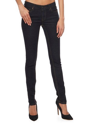 WAX Skinny Jeans with Five Pocket Design,BLACK,large