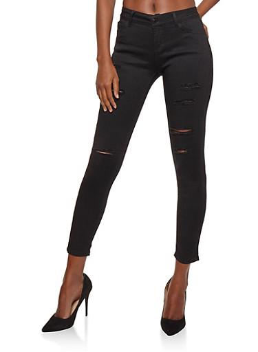 WAX Slashed Skinny Jeans,BLACK,large