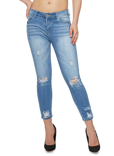 WAX 5 Pocket Distressed Cropped Skinny Jeans,LIGHT WASH,large