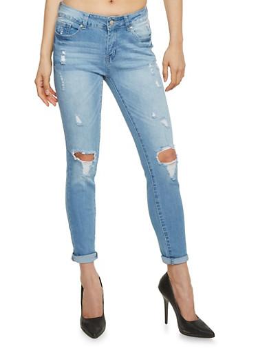 WAX Destroyed Knee Cropped Denim Jeans - Rainbow