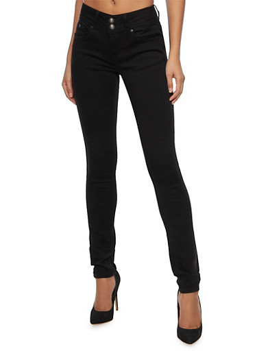 WAX Two Button Skinny Jeans,BLACK,large