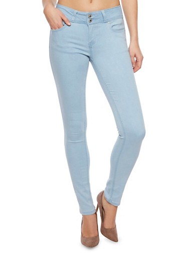 WAX High Waisted Stretch Skinny Jeans,LIGHT WASH,large