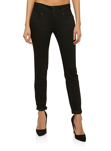 WAX 3 Button Push Up Skinny Jeans,BLACK,large