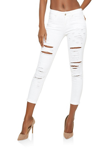 WAX Destroyed Cuffed Skinny Jeans,WHITE,large