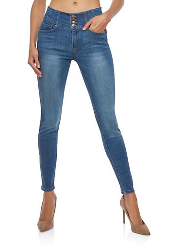 WAX High Waisted Push Up Skinny Jeans,MEDIUM WASH,large