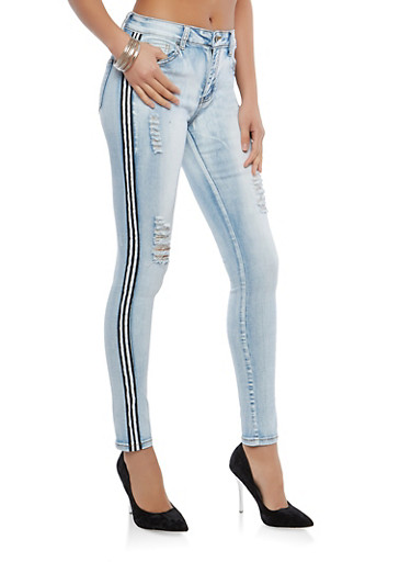 Side Stripe Skinny Jeans,LIGHT WASH,large