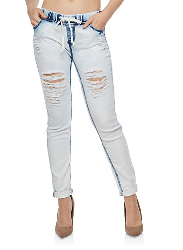 Destroyed Drawstring Waist Skinny Jeans,LT MARBLE,large