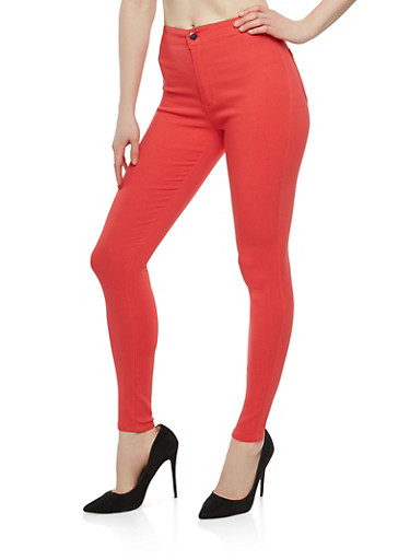 High Waisted Color Skinny Jeans,RED,large