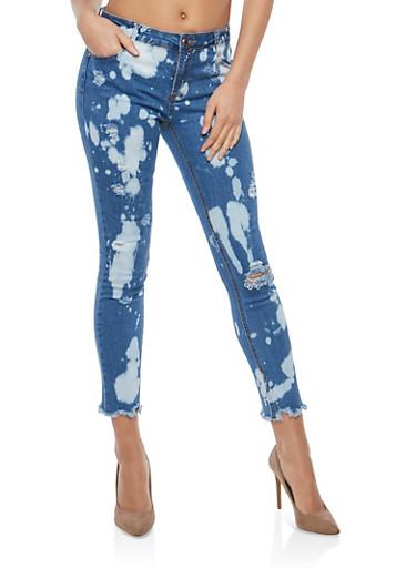 Distressed Bleach Splatter Skinny Jeans,BLUE TYE DYE,large