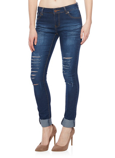 Slashed Skinny Jeans with Rolled Cuffs,INDIGO,large