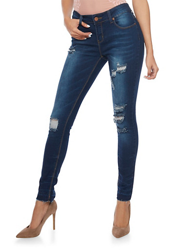 Distressed Skinny Jeans with Frayed Hems,MEDIUM WASH,large