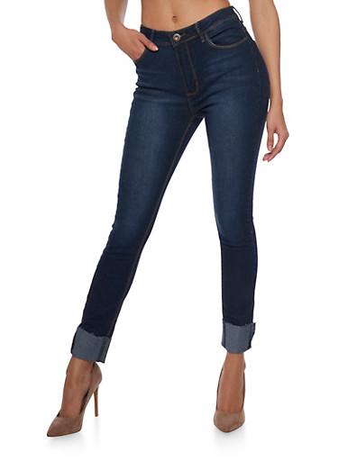 Frayed Hem Skinny Jeans,LAUREN/ DK WASH,large