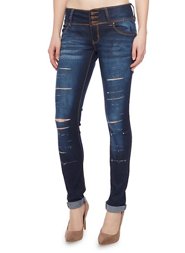Slashed Skinny Jeans with 3 Button High Waist,INDIGO,large
