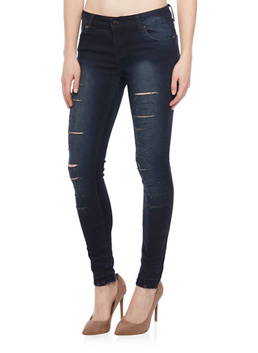 Slashed Faded Skinny Jeans,DARK WASH,large