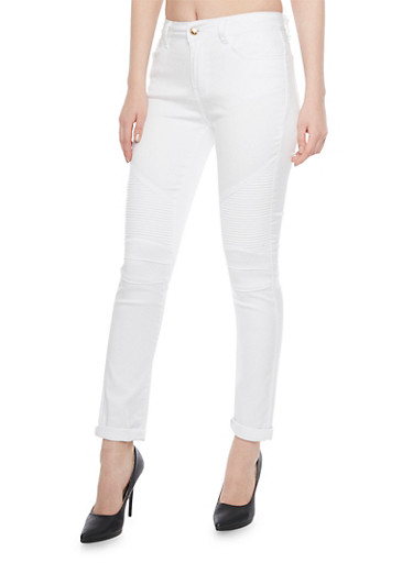 Moto Skinny Jeans with 5 Pocket Design,WHITE,large
