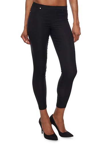 Solid Jeggings with Two Pockets,BLACK,large