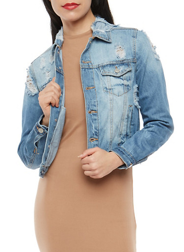 Almost Famous Distressed Jean Jacket,MEDIUM WASH,large