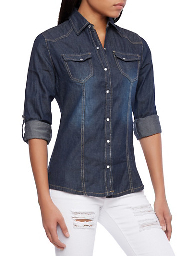 Denim Shirt With Button Up Front And Roll Tab Sleeves