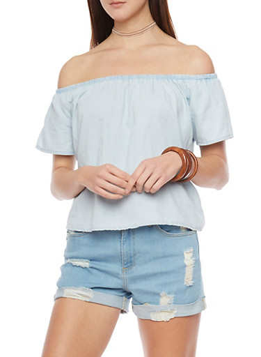 Short Sleeve Off The Shoulder Chambray Top,LIGHT WASH,large
