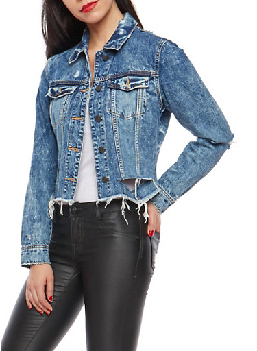 Cello Distressed Cropped Denim Jacket,MEDIUM WASH,large