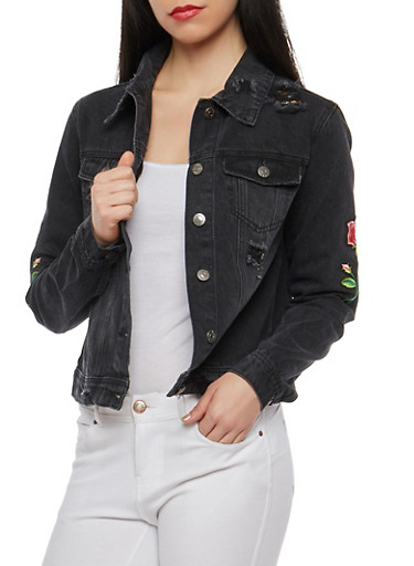 Cello Distressed Floral Patch Denim Jacket,BLACK,large