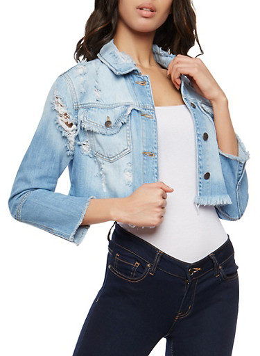 Cello Destroyed Cropped Jean Jacket,LIGHT WASH,large