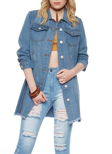 Button Up Frayed Hem Denim Jacket,MEDIUM WASH,large