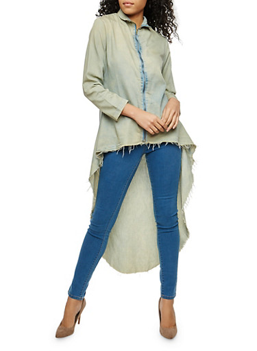 High Low Zip Up Chambray Top,ANTIQUE TINT,large