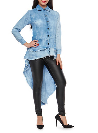 Tiered High Low Button Front Chambray Shirt,MEDIUM CLOUD,large
