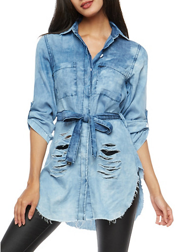 Ripped Chambray Button Front Top,MEDIUM WASH,large