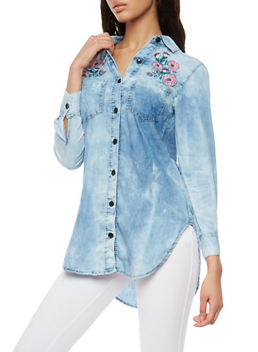 Cloud Wash Floral Embroidered Button Front Shirt,MEDIUM WASH,large