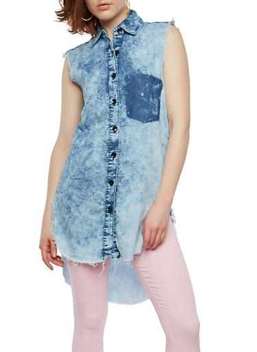 Acid Wash Frayed Denim Button Front Shirt,STONE,large