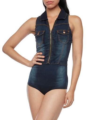 Sleeveless Denim Bodysuit,BLUE,large