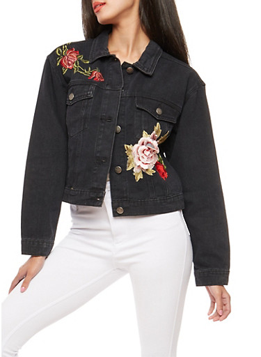 Embroidered Patch Denim Jacket,BLACK,large
