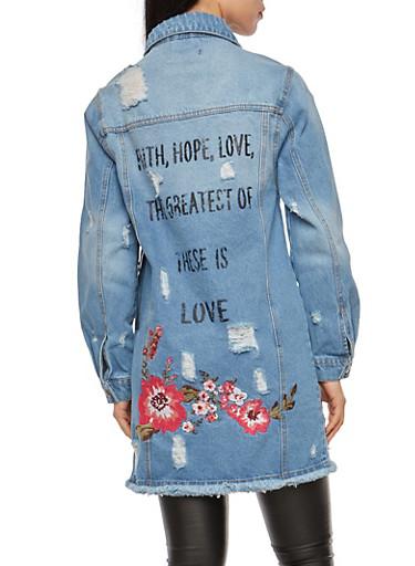 Distressed Embroidered Long Line Denim Jacket,BLUE,large