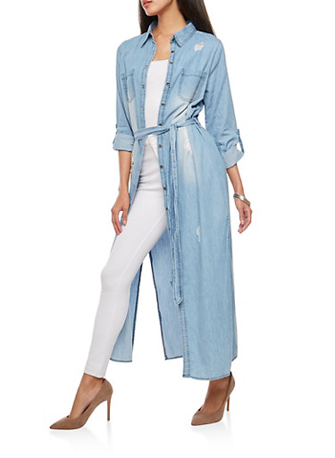 Button Front Side Slit Denim Dress,MEDIUM WASH,large