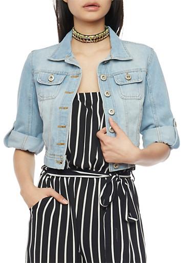 Highway Jeans Cropped Button Front Denim Jacket,LIGHT WASH,large