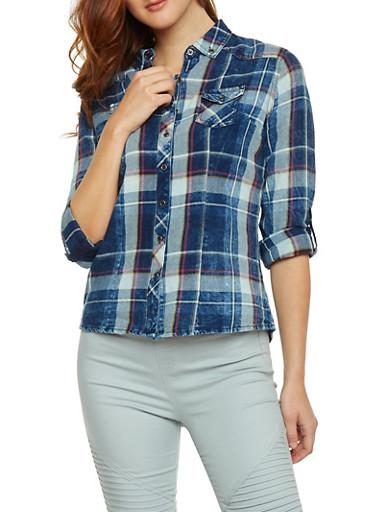 Long Sleeve Plaid Denim Shirt,BLUE DENIM,large