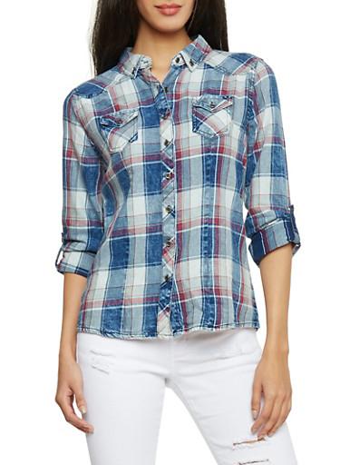 Highway Jean Plaid Denim Button Up Shirt,BLUE DENIM,large
