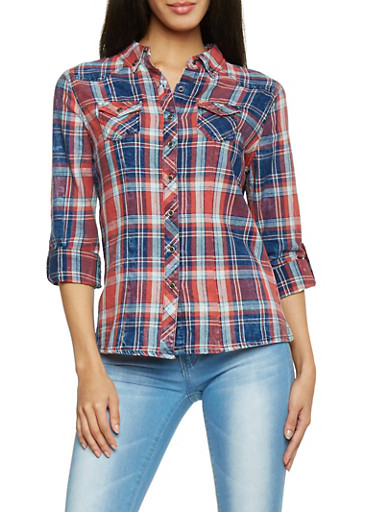 Highway Jeans Plaid Two Pocket Button Up Top,RED,large