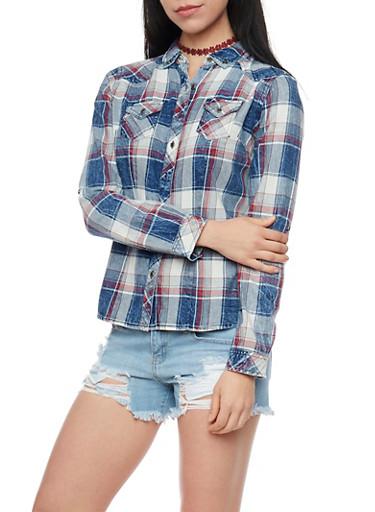Highway Jeans Button Up Plaid Denim Shirt,BLUE DENIM,large