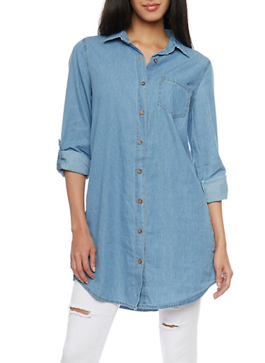 Highway Jeans Denim Button Up Tunic Top,MEDIUM WASH,large