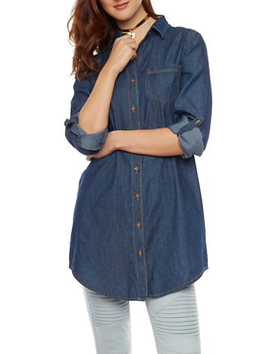 Rolled Sleeve Button Up Denim Tunic,DARK WASH,large
