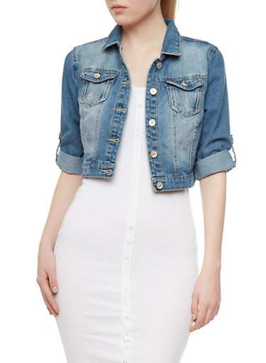 Distressed Denim Cropped Vest With Convertible Sleeves