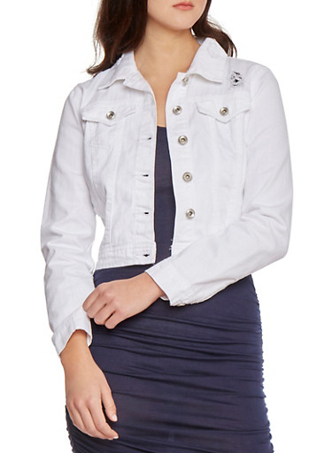 White Distressed Denim Jacket with Two Pockets