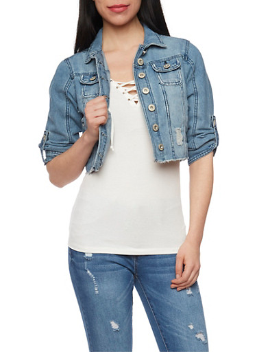 Distressed and Cropped Denim Jacket with Tab Sleeves,MEDIUM WASH,large