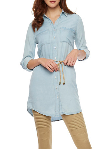 Highway Jeans Denim Shirt with Tie Belt,LIGHT WASH,large