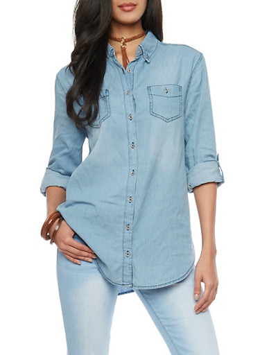 Highway Jeans Rolled Sleeve Chambray Shirt,MEDIUM WASH,large