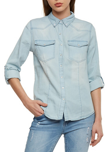 Highway Jean Button Front Denim Shirt,LIGHT WASH,large