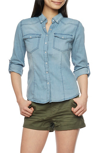 Highway Jean Button Front Denim Shirt,MEDIUM WASH,large
